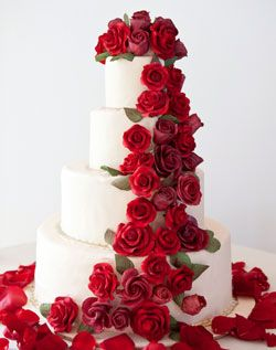 Red rose wedding cake. I normally don't like that many flowers on the cake but this is pretty
