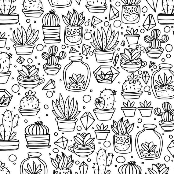 Succulents And Cactus Hand Drawn Coloring Page Print Color Etsy How To Draw Hands Coloring Pages Doodle Art