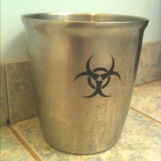 Chemistry themed bathroom trash can