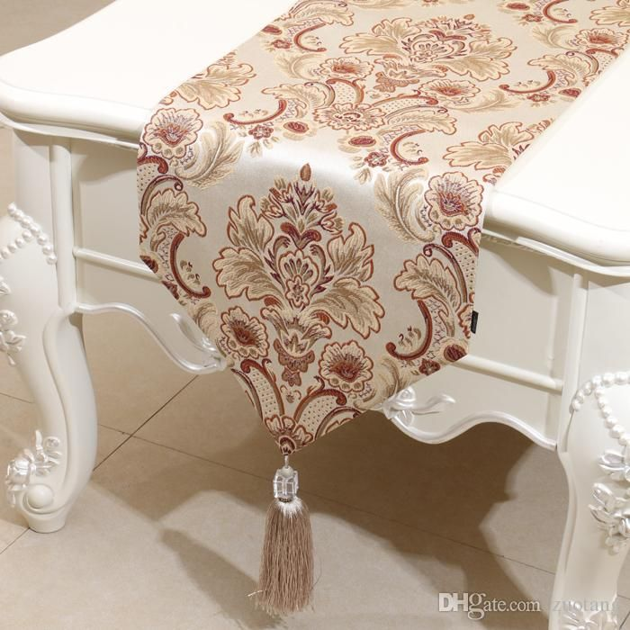 Europe Style Embossed Jacquard Rustic Table Runner American Style