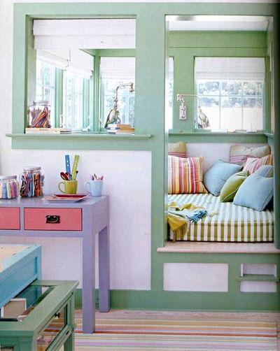 reading nook: Idea, Cozy Nook, Color, Bed Nook, Book Nooks, Kids Room, Reading Nooks, House, Rooms