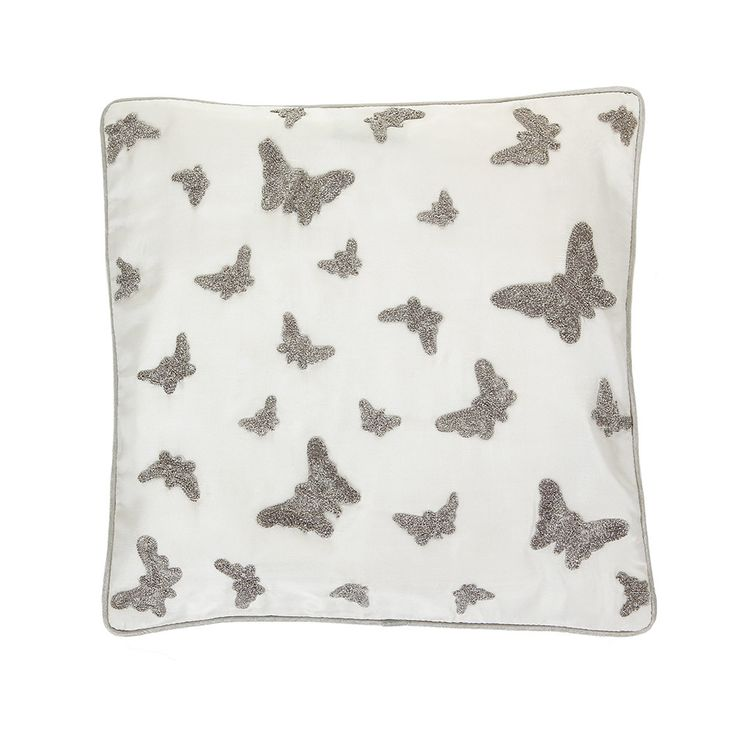 Discover the Gingerlily Silk Butterfly Cushion - Silver - 30x30cm at Amara