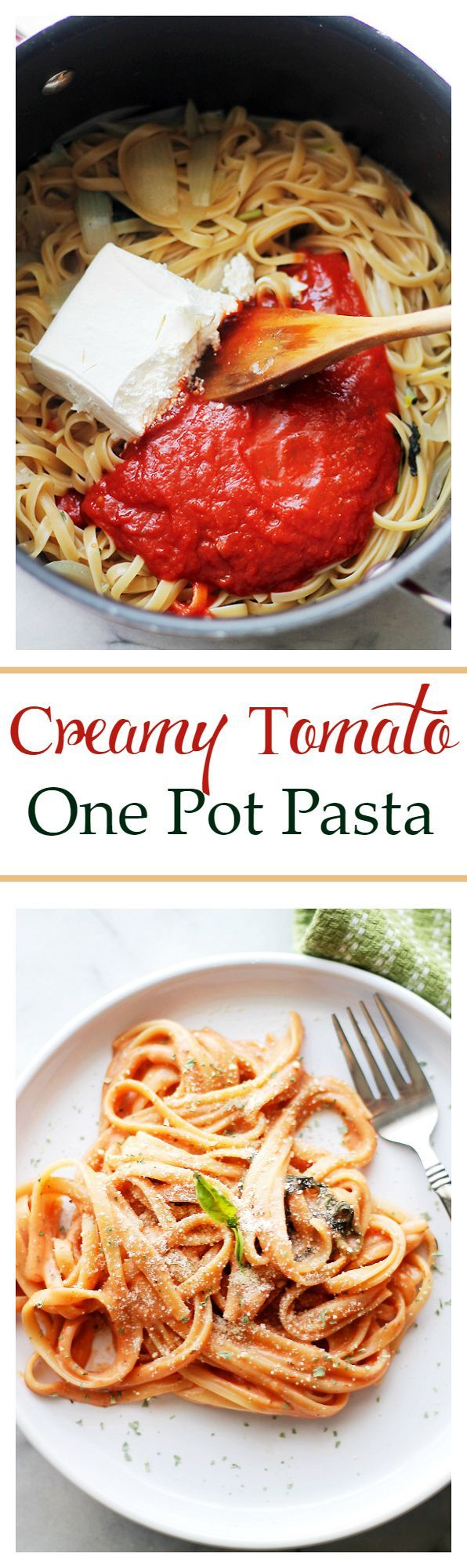 Creamy Tomato One Pot Pasta - The easiest and creamiest pasta without the cream! It all happens in the same pot and it will be on your dinner table in just 20 minutes! Get the recipe on diethood.com