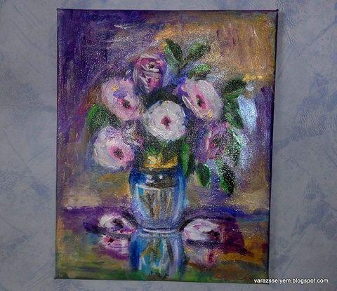 Váza virágokkal (selyemsziget) - Meska.hu
