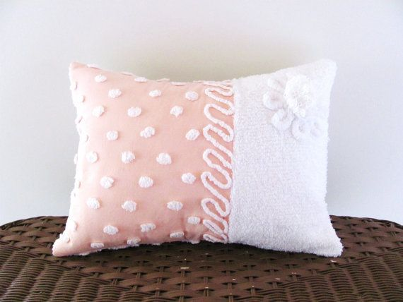 Peachy pink cushion cover RIBBON CANDY by moreChenilleChateau