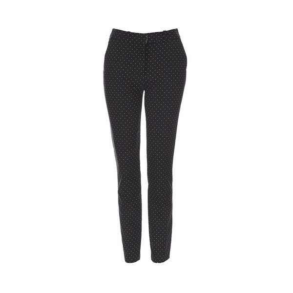 Topshop Tall Pinspot Cigarette Trouser ($44) ❤ liked on Polyvore featuring pants, black, patterned pants, patterned trousers, cigarette pants, cigarette trousers and print pants