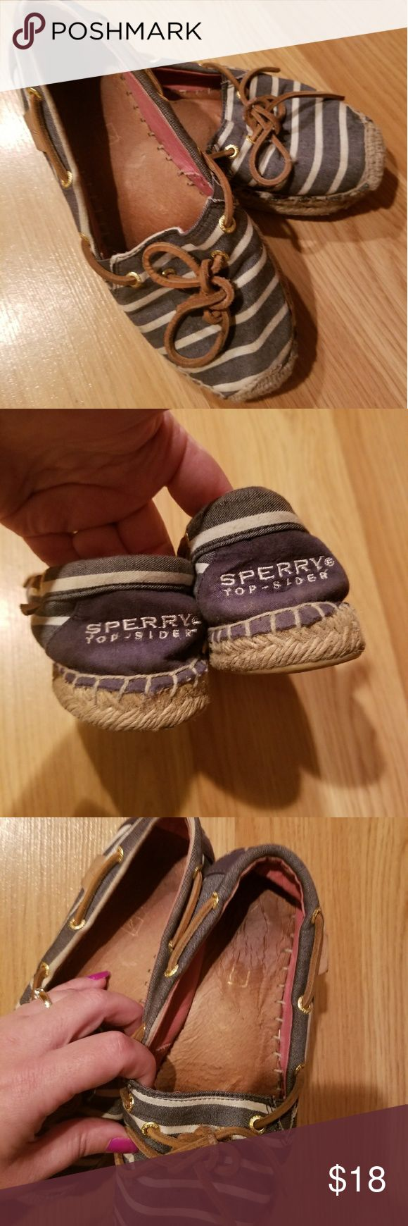 Sperry Topsider Espadrilles Blue with white stripes. Insoles show lots of wear and some wear shown on bottoms but outside of shoes are very clean and in good shape. Sperry Top-Sider Shoes Espadrilles