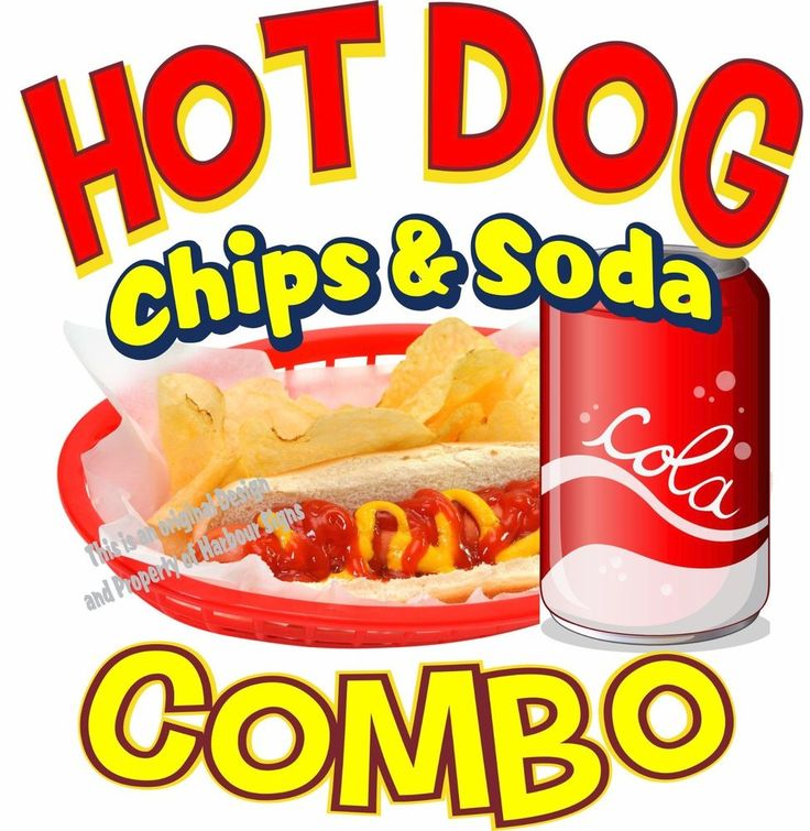 """Hot Dogs Soda & Chips Combo Decal 14"""" Restaurant Concession Food Truck Sticker #harbourSigns"""