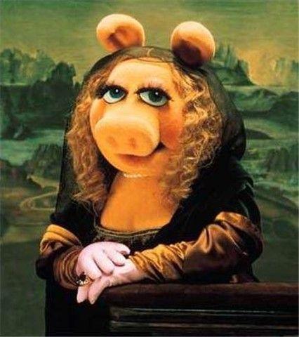 Mona Piggy-- Mona Lisa Parodies #Joconde /via http://www.pinterest.com/katellch/98-leonardo-da-vinci-mona-lisa-tribute-art/