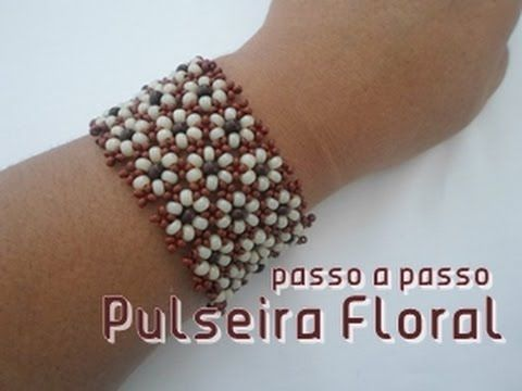 NM Bijoux - Pulseira Floral - passo a passo - Flower Bracelet ~ Seed Bead Tutorials
