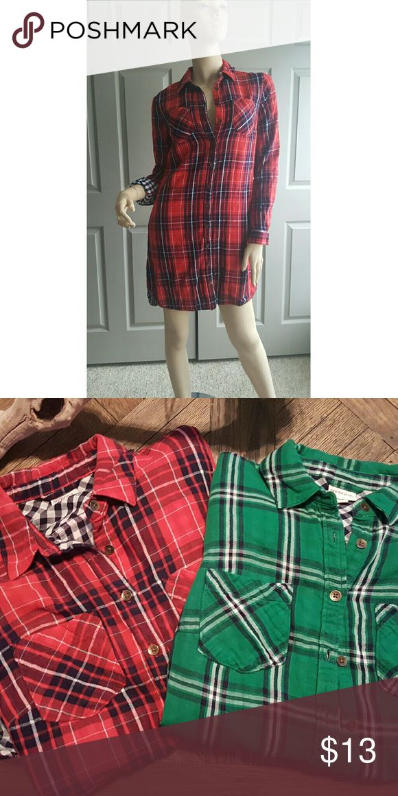 Women's Plaid Shirt Dress -  Sz- XS These are super cute!  These dresses can be worn alone or wear on top of jeans.  Very versatile!  I have 1 - Red and 1-Green.  Pre-owned. Cost: $13 each. Merona Dresses