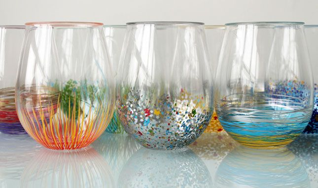 Add a Pop of Color to Your Glassware! For materials, we used these stemless acrylic wine glasses from Crate & Barrel and Decocolor Opaque Paint Markers.