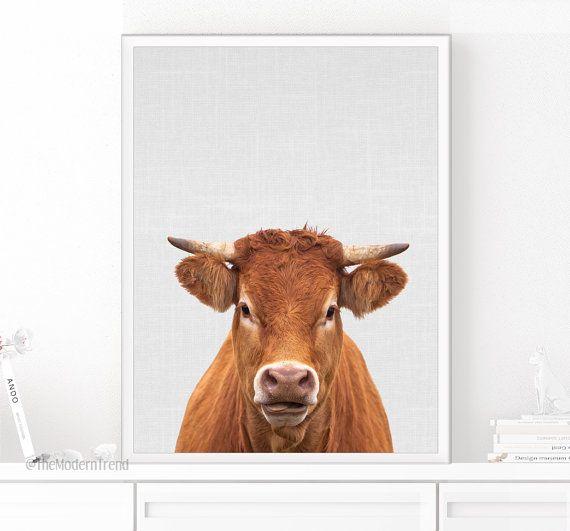 Impression de vache, vache Art, photographie imprimable, Animal, Animal de ferme Chambre d'enfant, ferme imprimé Animal, décor de ferme, Photo impression, imprimable minimale de vache