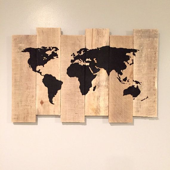 World map on reclaimed wood. Made out of recycled pallet wood. Available for sale on etsy at: https://www.etsy.com/listing/223871868/world-map-painting-on-rustic-staggered?ref=shop_home_feat_2