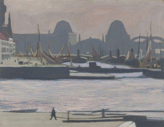 Léon Spilliaert. Le port d'Ostende 1924. Gouache sur papier