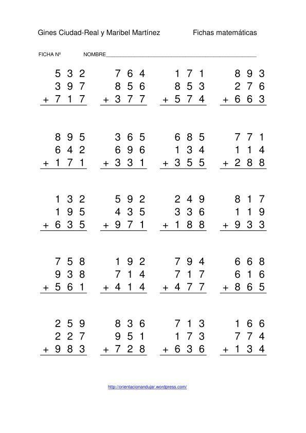 sumas tres numeros de tres cifras