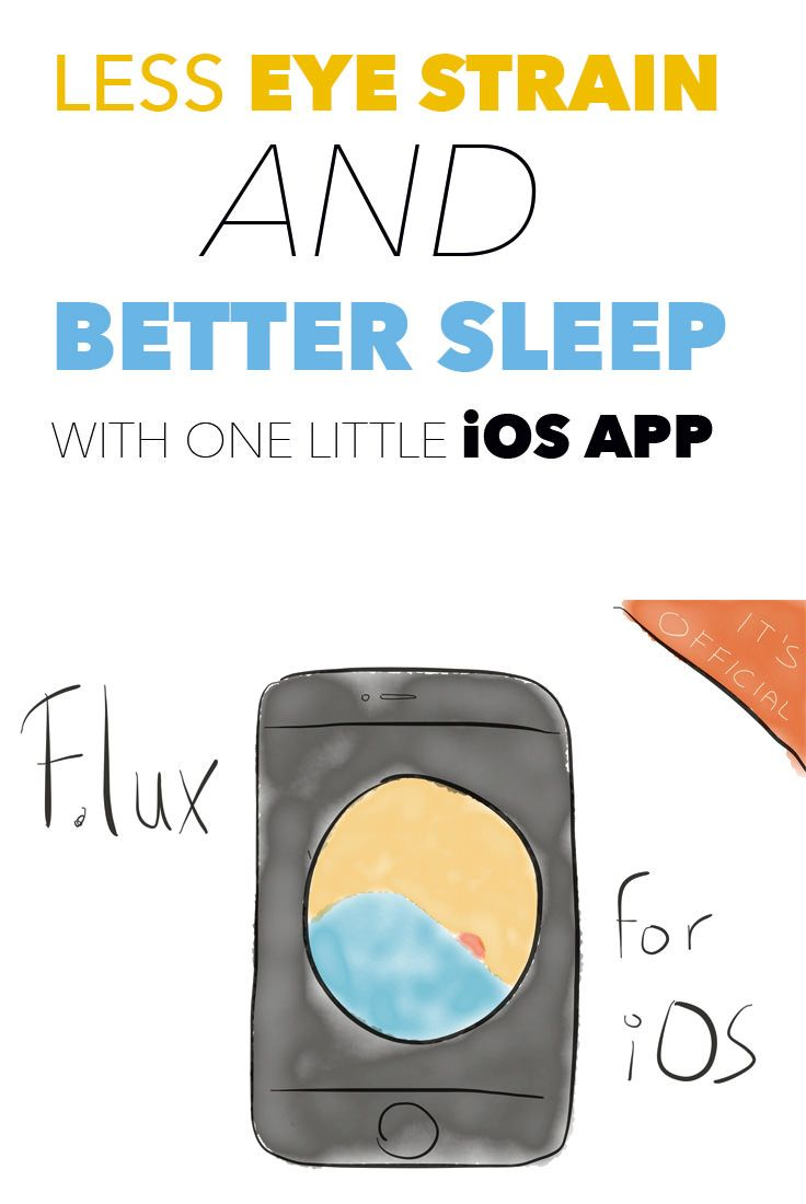 "An easy way to sleep better at night when using an iPhone or iPad before going to bed. Installing f.lux reduces to glow of your device and makes the screen temperature ""warmer"", hence: less stressful."