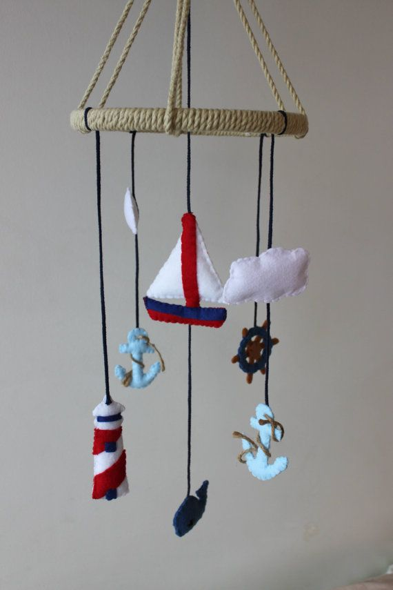 Nautical Baby Mobile Sail Boat Anchor Ocean Whale by JadedRabbit, $120.00