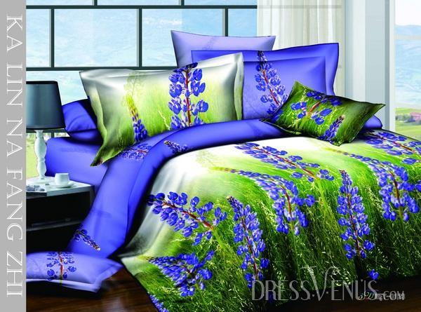 US$117.99 Charming Blue 4 Piece Cotton Bedding Sets with Lavender Florlas Printing. #Bedding #Lavender #Sets #Blue