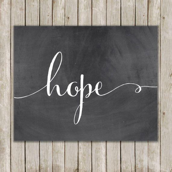 8x10 Hope Printable Art, Hope Calligraphy Print, Typography Print, Typography Art, Chalkboard Poster, Wall Art Decor, Instant Download