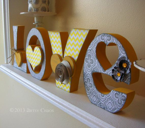 Unfinished Wood LOVE Letters Wedding Family Home Decor
