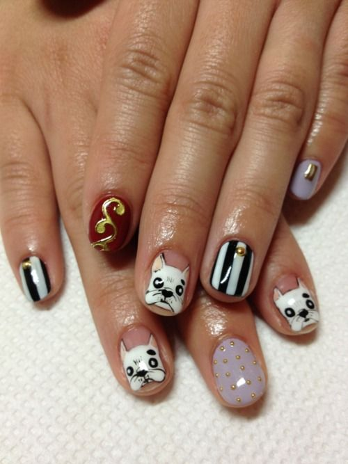 Nailsymo: Cute Terrier (or Could Be French Bulldog) Nail Art