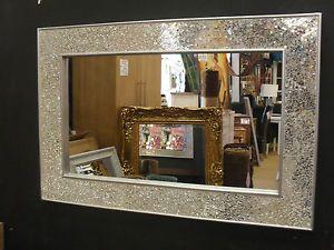 craquelé Design Miroir Mural Uni cadre argenté Mosaique 90X60cm Neuf Handmade
