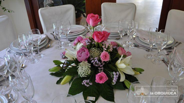 Centro de mesa en rosa - La Orquídea Castellón