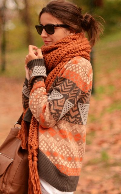 fall sweater. love the scarf too