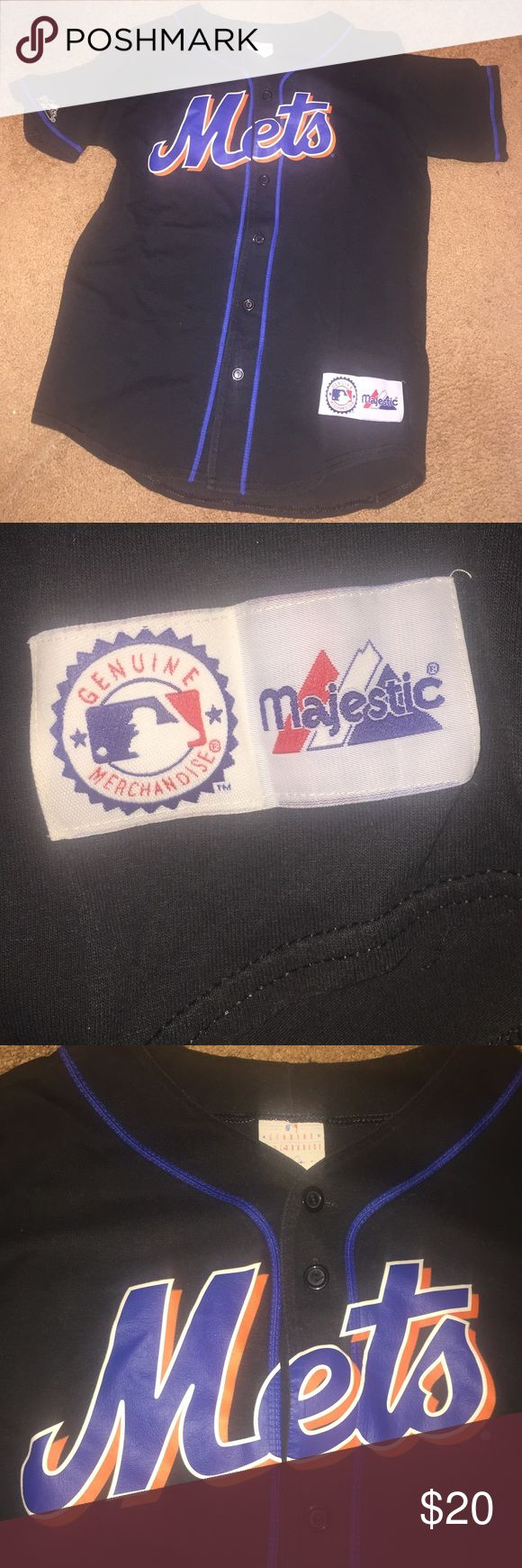 Vintage Majestic Mets Baseball jersey boys L Great condition, classic Mets jersey by Majestic. Boys size L (14-16) Majestic Shirts & Tops