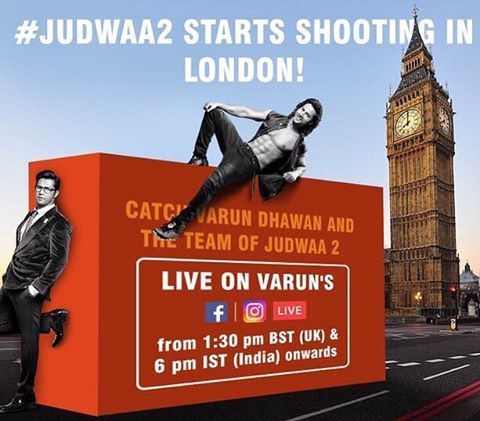 Be part of day 1 of the #judwaa2 shoot tomorrow and let me show you our world. Catch us live on Instagram and Facebook 6 pm IST