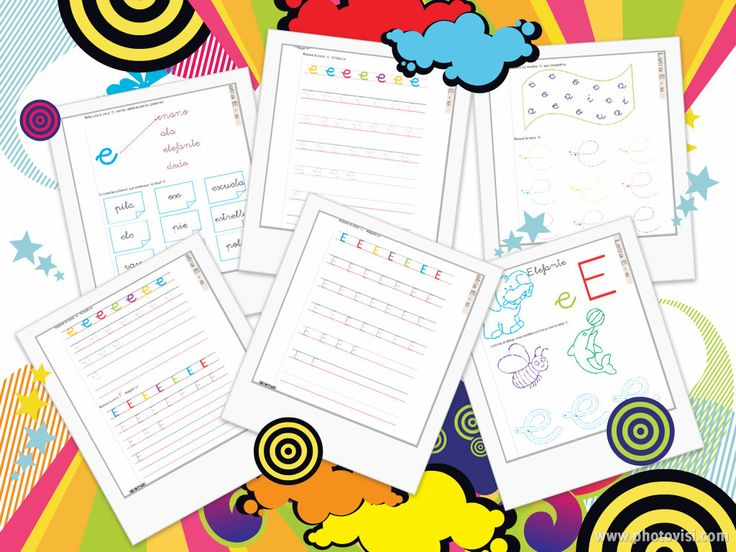 6 Fichas de la #vocal e GRATUITAS http://www.materialdeaprendizaje.com/lecto-escritura-material-de-aprendizaje_1325/