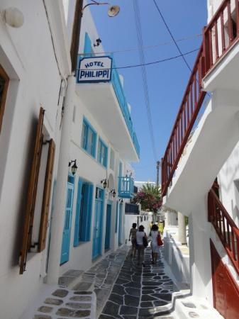 Hotel Philippi - Kalogera Street View - Reasonable hotel in Mykonos Town. Garden in back. Centrally located.