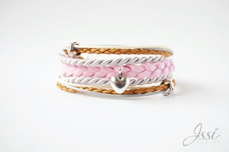 SILVER PINK HEART (proj. Issi design) bracelet