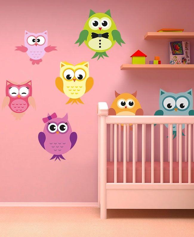 Buhos y lechuzas stickers infantiles stickers - Letras para habitaciones infantiles ...