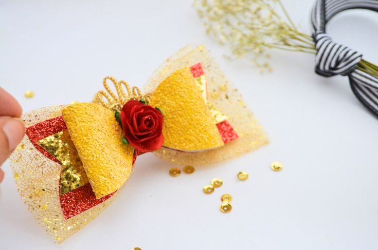 Red Belle Bow, disney princess belle bow, Beauty and the Beast bow hair clip, glitter Belle bow, Princess Belle headband, Princess Belle bow by Bellainspirationd on Etsy https://www.etsy.com/listing/484890435/red-belle-bow-disney-princess-belle-bow