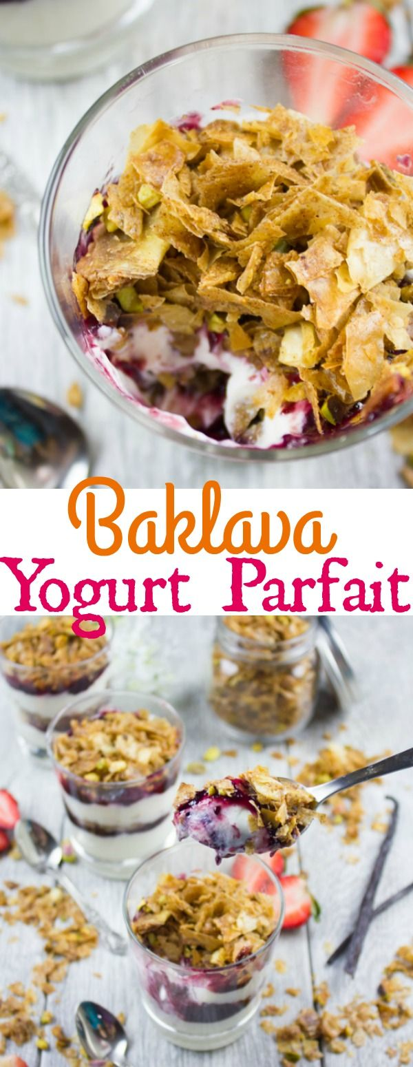 Baklava Yogurt Parfait with Homemade Baklava Crumbles - move over granola and granola parfaits, these Baklava parfaits will take over your reekiest and dessert table! Plus the homemade baklava crumbles are totally addictive! Step by step recipe and tips : twopurplefigs    #ad @smuckers