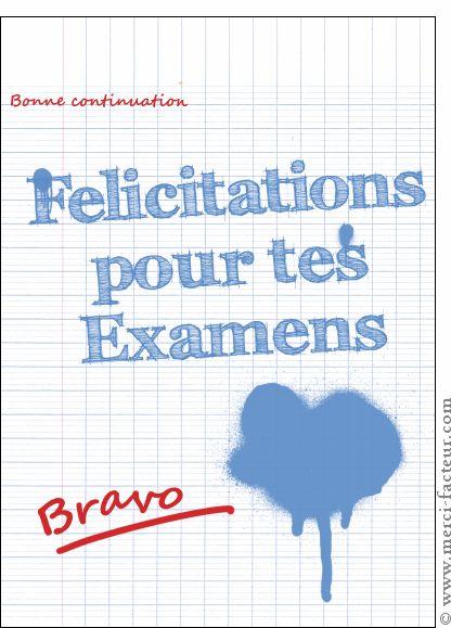 Carte Félicitations examens sur un cahier pour envoyer par La Poste, sur Merci-Facteur !