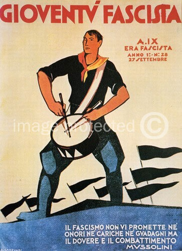 """WWII Italian Poster. Fascist Youth, 1930/1931: """"Fascism does not promise you neither honors nor charges nor gains but duty and combat"""" Mussolini."""