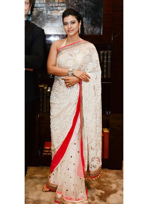 Desiner White Net Saree of Kajol