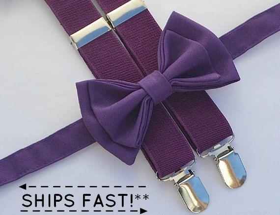 Prune bretelles & noeud violet aubergineanneau porteur par armoniia