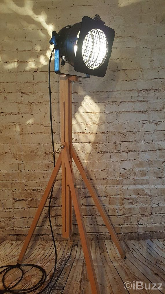 Classic theatre stage floor lamp mounted on an adjustable solid beechwood tripod, a novel addition to any home.  Lamp can be rotated and tilted easily