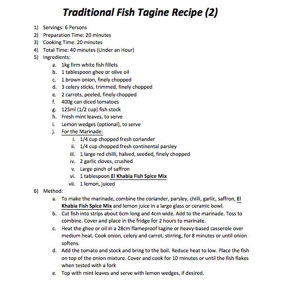 Traditional Fish Tagine Recipe 2)