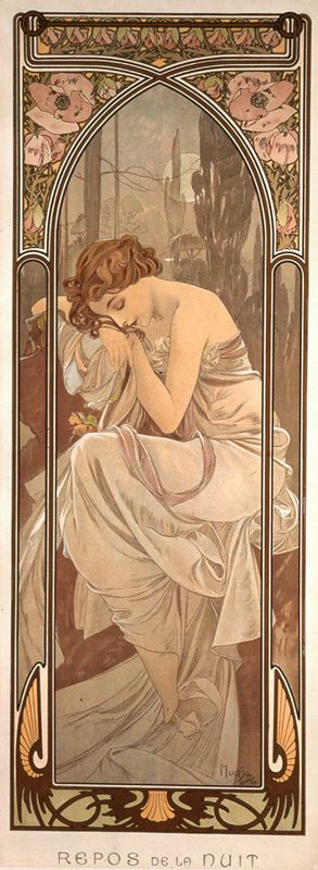 Alfons Mucha 1860 - 1939 The Times of Day, Night's Rest una de las obras de mi…