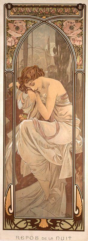 """Alfons Mucha 1860 - 1939 The Times of Day, Night's Rest una de las obras de mi preferencia de este artista exponente del Art Nouveau, por el uso e las líneas curva y la simetría de la composición, la paleta de colores y el concepto de renovación del arte """"arte joven"""" y la belleza que expresan las obras de este artista"""
