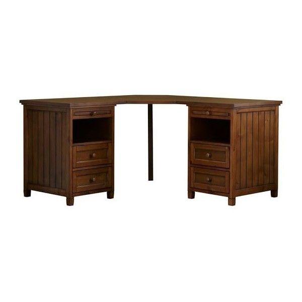 PB Teen Beadboard Smart Corner Desk, Chestnut at Pottery Barn Teen -... ($879) ❤ liked on Polyvore featuring home, furniture, desks, wooden desk, wood furniture, dark brown furniture, wood desk and pbteen furniture