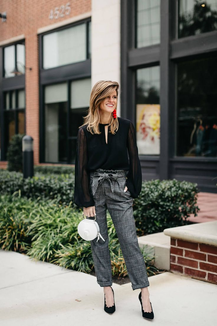 Black chiffon blouse+grey checked pants+black pumps+white handbag+red tassel long earrings. Fall Evening/ Night Out/ Nicht Date/ Party/ Dinner/ Dressy Casual Outfit 2017
