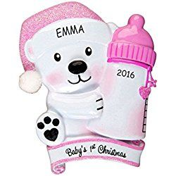 Personalized Baby Bear First Christmas Ornament (Pink)