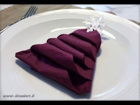 Tovaglioli di carta e stoffa piegati ad albero di Natale - YouTube