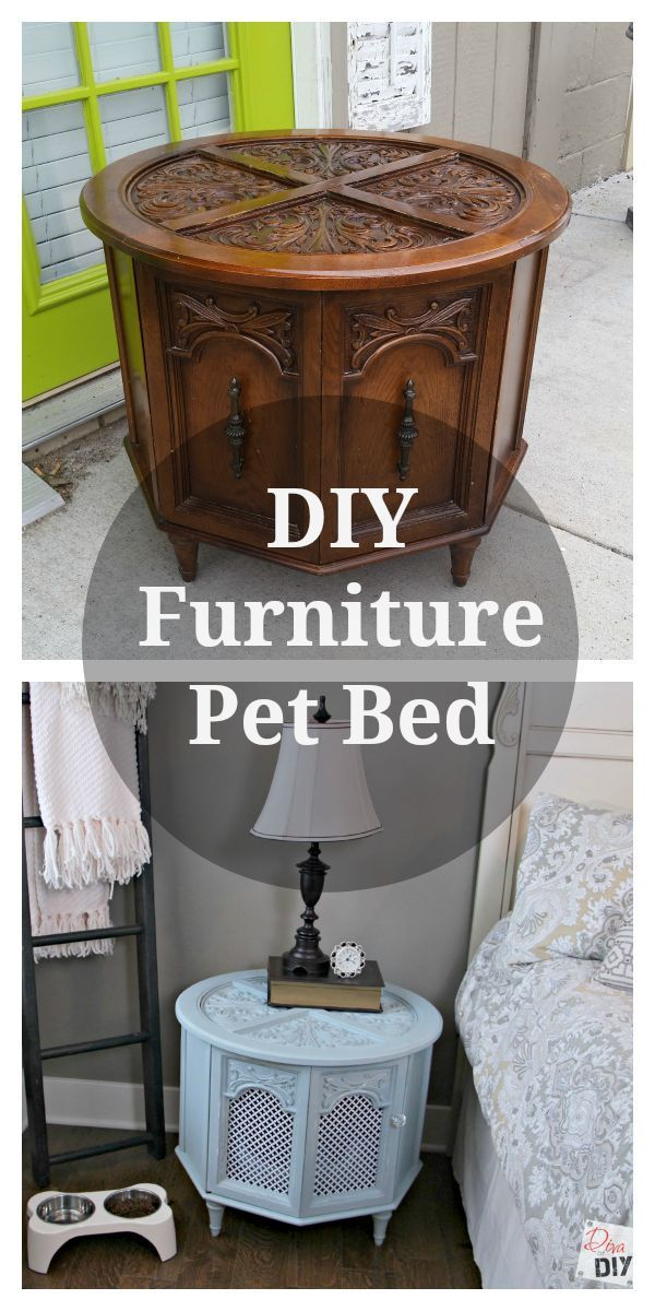 Upcycle an old end table to make a DIY pet bed for your dog or cat. This homemade pet bed can be painted to match your home decor for any room! DIY Pet Bed | Cheap Dog Bed | Upcycled End Table | Cat Bed